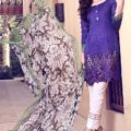 MariaB Wadi Oasis Winter Embroidered Cambric Suit Blue